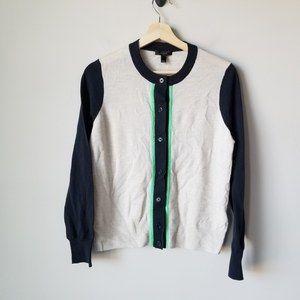 NWT J.CREW Merino Wool Colorblock Cardigan Sweater